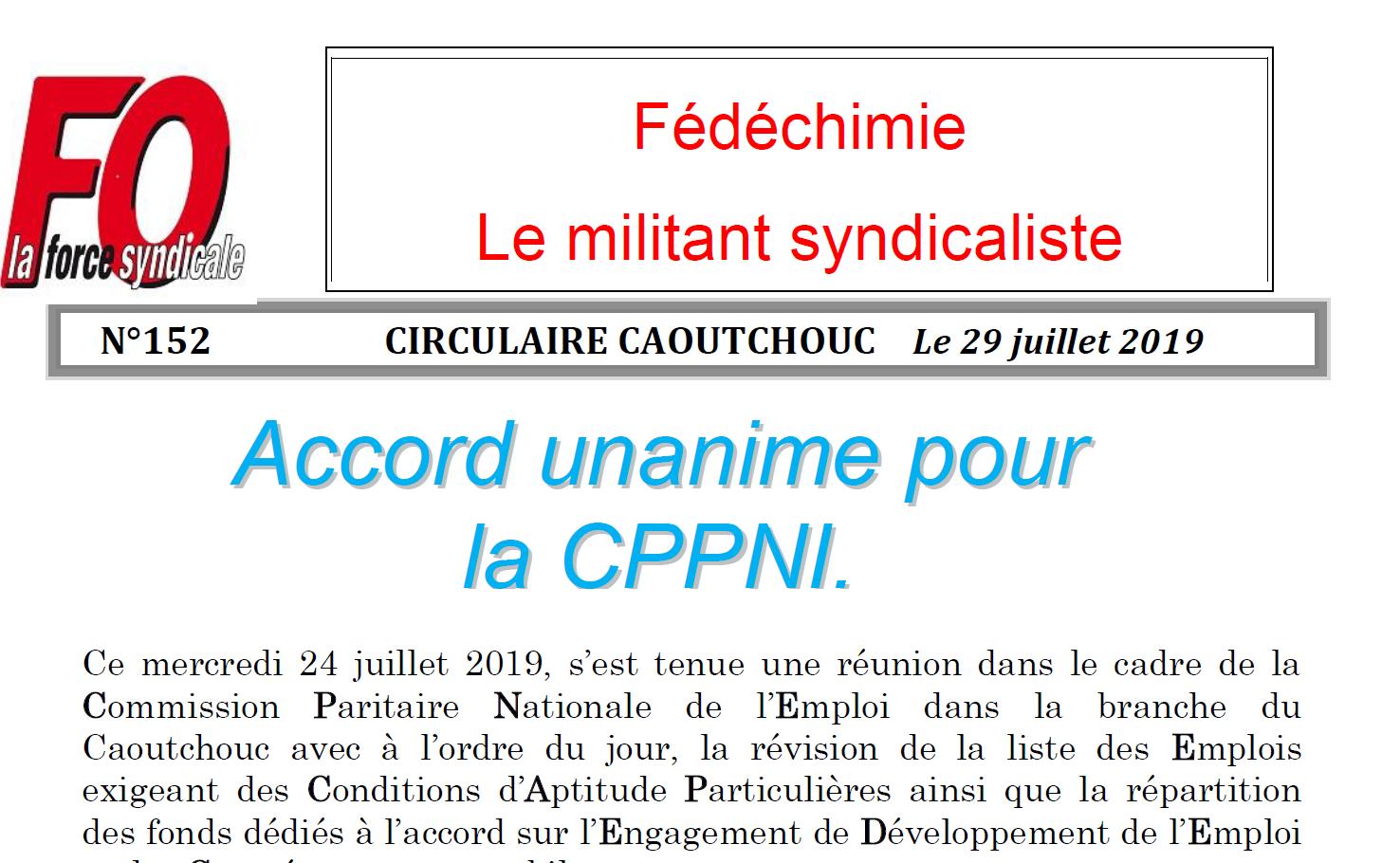 Accord CPPNI Caoutchouc