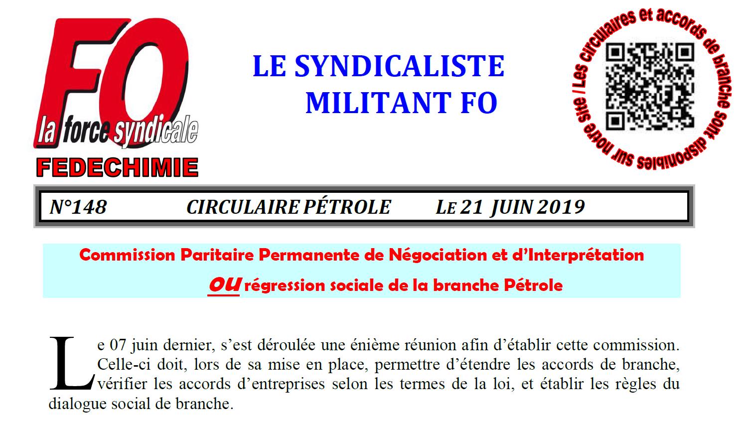 Circulaire Pétrole n°148